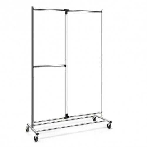 Heavy Duty Adjustable Rack Rolling Clothes Organizer On Wheels