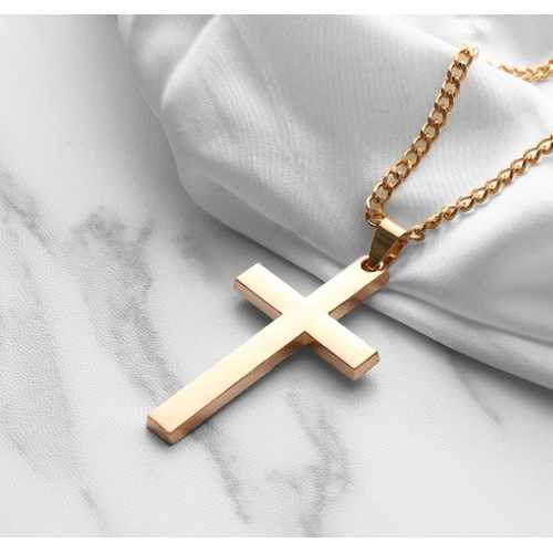 Pendant Cross Solid Gold Chain Necklaces