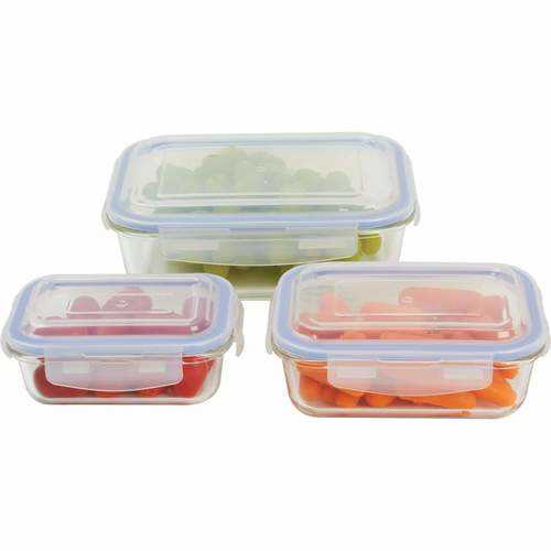6pc Locking, Glass Storage Container Set