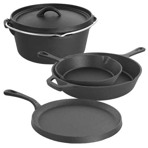 MegaChef Pre-Seasoned Cast Iron 5-Piece Kitchen Cookware Set, Pots and Pans