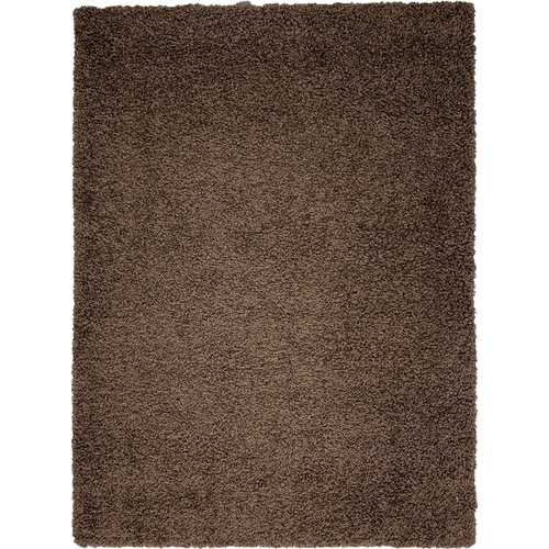 Solid Shag Collection Modern Plush Brown Shag Area Rug 3 ft. by 5 ft.