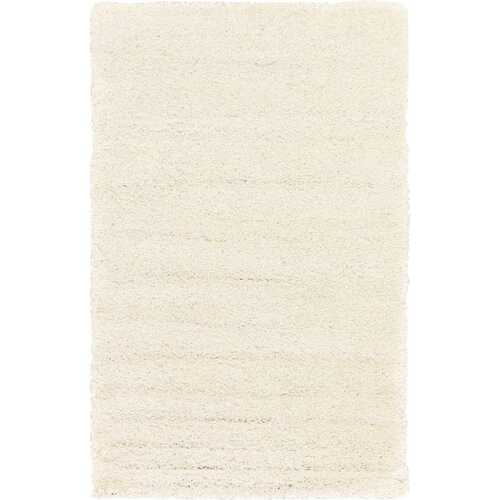 Solid Shag Collection Modern Plush White Shag Area Rug 5 ft. by 7 ft.