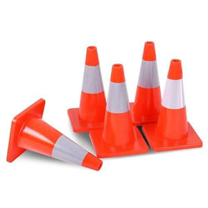 "5 pcs 18"" Slim Fluorescent Safety Parking Traffic Cones"