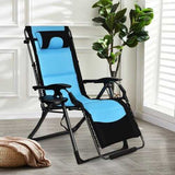 Outdoor Folding Padded Zero Gravity Lounge Chair-Navy