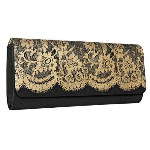 Satin & Lace Black Clutch
