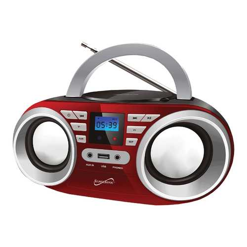 Supersonic Portable MP3/CDPlayer Audio System in Red