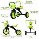 Kids Tricycle Rider with Adjustable Seat-Green