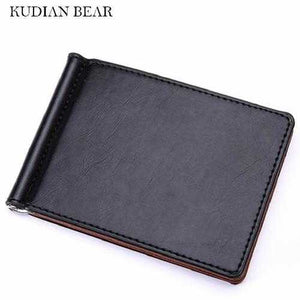 Leather Men Money Clips Metal Solid Wallets Credit Card Wallet Money Holder Clamp portafoglio New