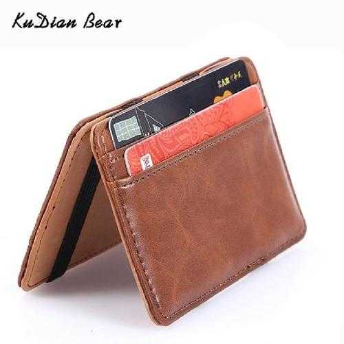 Slim Leather Men Wallet Magic Brand Designer Men Wallet Card Holder Korean Bilfold Clamps for Money