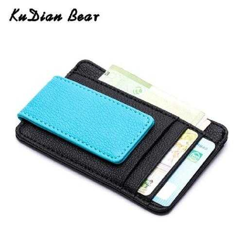 PU Leather Money Clip Magnet Men Card Pack Slim Cash Clips Clamp for Money Thin Billfold Card Wallet