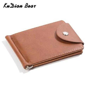 PU Leather Money Clip Metal Men Card Case Slim Cash Clips Metal Clamp for Money Thin Wallet Carteira