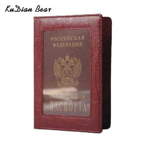 Leather Russian Passport Cover Business Case Fashion Designer Credit Card Holder Passport Holder