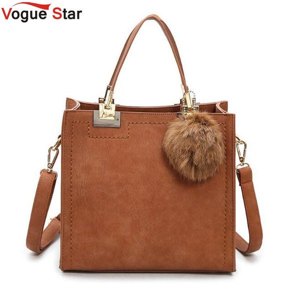Hot sale handbag women casual tote bag female large shoulder messenger bags high quality PU leather handbag with fur ball  LB430