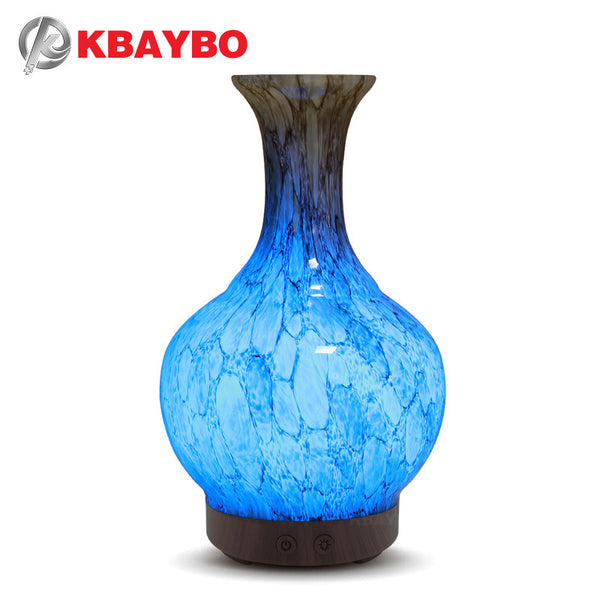 100ml Glass Vase Aromatherapy Essential Oil Diffuser Cool Mist Humidifier Waterless Home Office Bedroom Living Room