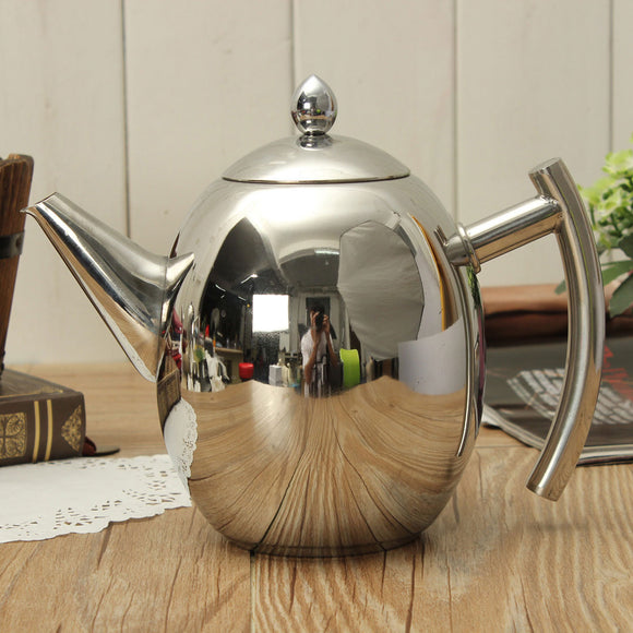 1500ML Stainless Steel Teapot Coffee Pot Olive Pot Cold Kettle With Strainer