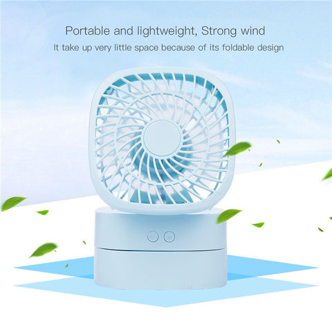 USB Rechargeable Desktop Rotatable Mini Fan with 2 Files Wind Speed Adjustable Head Foldable Cooling Fan