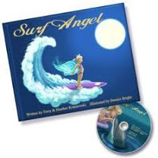 collectible surf angel signed by author hard cover book with dvd hair clips glitter gift set surfer girls
