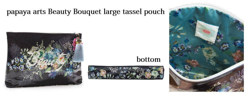 APL0052-Beauty-Bouquet-Large-Tassel-Pouch-inspirational black floral rich classy classic womens travel ipad make up work bag chick sticks sale
