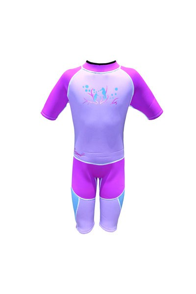 GIRLS ESPECIALE TODDLER GLITTER COLORFUL WETSUIT SHORTY FUN PROTECTIVE UNIQUE SURFER SWIMMER POOL OCEAN PINK PURPLE