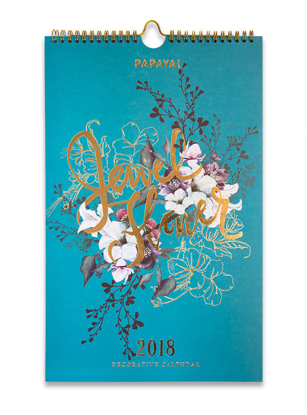 PAPAYA ART INSPIRATIONAL UNIQUE BEAUTIFUL JEWEL FLOWER GOLD FOIL UPSCALE FANCY RICH LARGE 2018 WALL CALENDAR LIFESTYLE 4