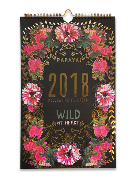 PAPAYA ART INSPIRATIONAL UNIQUE BEAUTIFUL JEWEL FLOWER GYPSY ROSE WILD AT HEART GOLD FOIL UPSCALE FANCY RICH LARGE 2018 WALL CALENDAR LIFESTYLE 4