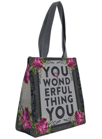 papaya art insulated lunch bag inspirational garden birds floral koala peachy