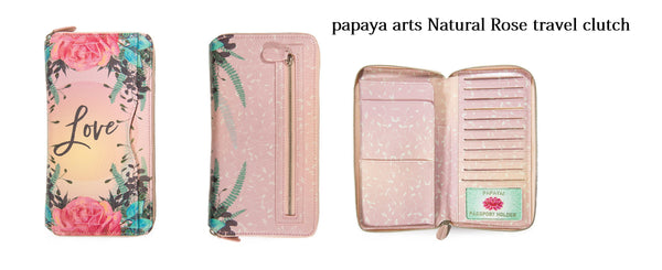 papaya art wanderlust inspirational travel clutch passport documents id receipts notes full zipper safe beautiful oil cloth handmade sale beachy vacation chick sticks  natural rose love