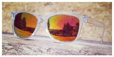 deric clear orange red glassy sunglasses