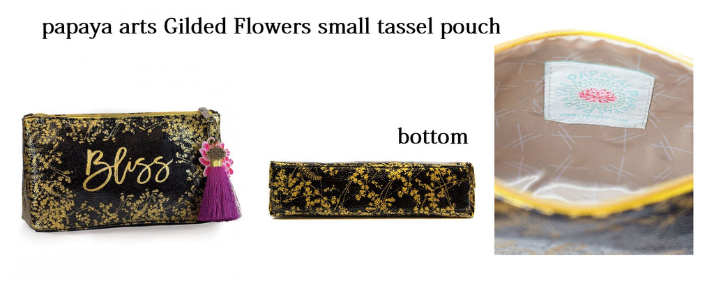 papaya art bliss black gold gilded flowers bliss bag small tassel pouch make up evening bag classy chick sticks sale