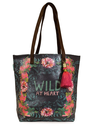 papaya art bucket tote bag oil cloth vegan leather straps inspirational designs and art skys the limit gypsy rose wild at heart sale