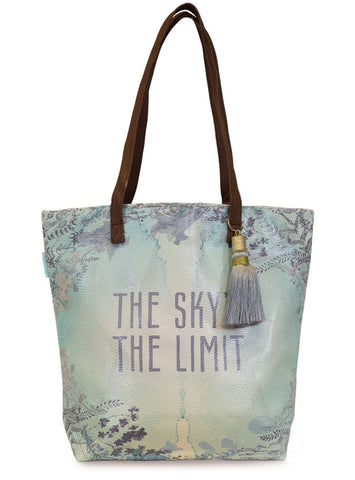 papaya art bucket tote bag oil cloth vegan leather straps inspirational designs and art skys the limit sale
