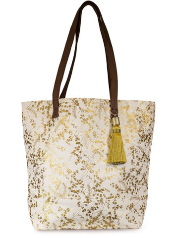 papaya art bucket tote bag oil cloth vegan leather straps inspirational designs and art white gilded gold foiled flowers sale