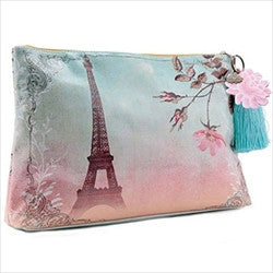 papaya art eiffel tower france cherry blossoms large accessory pouch sale