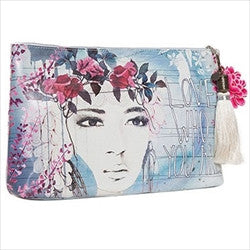 papaya art fireweed flower crowned girl large accessory pouch sale