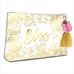papaya art gold foiled bliss flowers large accessory pouch sale