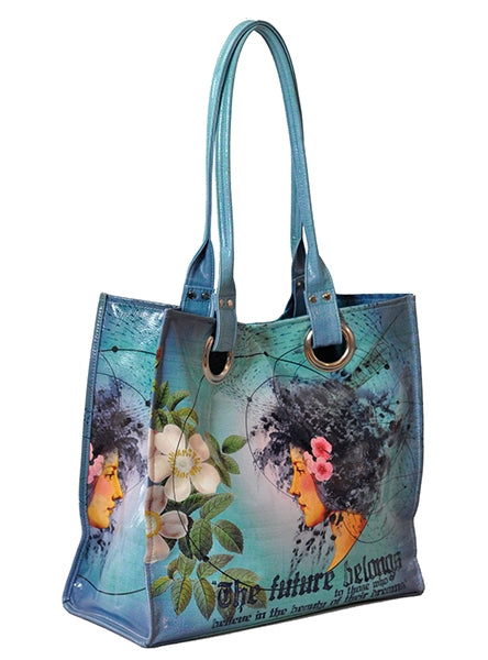 papaya art large structured luxe tote shopper overnight crafts inspirational bag hawaii tropical girl future beauty hawaiian girl starlet peacock live in the sunshine sale