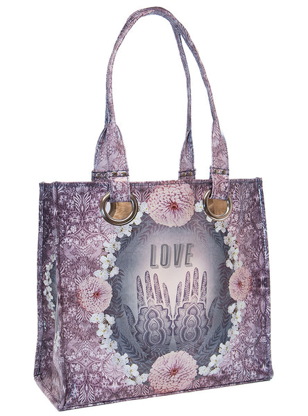 papaya art large structured luxe tote shopper overnight crafts inspirational bag love you to the moon and back pink blue dream starlet peacock live in the sunshine henna love spiritual sale