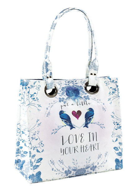 papaya art large structured luxe tote shopper overnight crafts inspirational bag starlet peacock love in your heart birds live in the sunshine sale