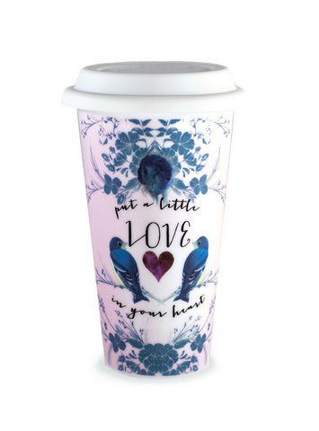 papaya art insulated travel coffee mug love sunshine joy gypsy rose wild at heart inspirational designs sale 12 oz