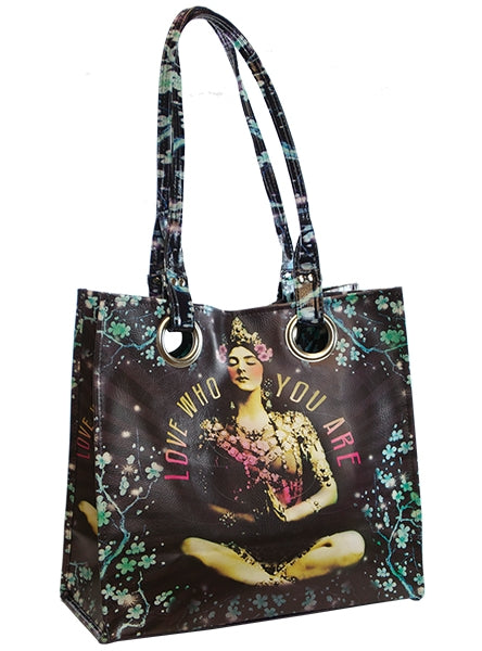 papaya art large structured luxe tote shopper overnight crafts inspirational bag starlet peacock temple girl indian meditation girl live in the sunshine sale