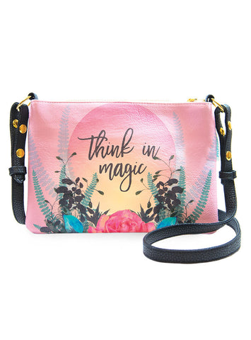 papaya art cross body wander bag wild at heart gypsy rose from the heart beauty love bouquet white foil natural rose believe in magic inspiration black gold foiled gilded flowers vegan leather sale 7