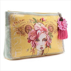 papaya art vintage girl rose large accessory pouch sale