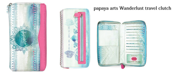 papaya art wanderlust inspirational travel clutch passport documents id receipts notes full zipper safe beautiful oil cloth handmade sale beachy vacation chick sticks