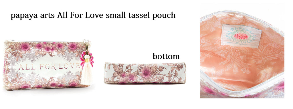 papaya arts all for love creme pink brown old fashioned floral small tassel make up pouch unique chick sticks sale