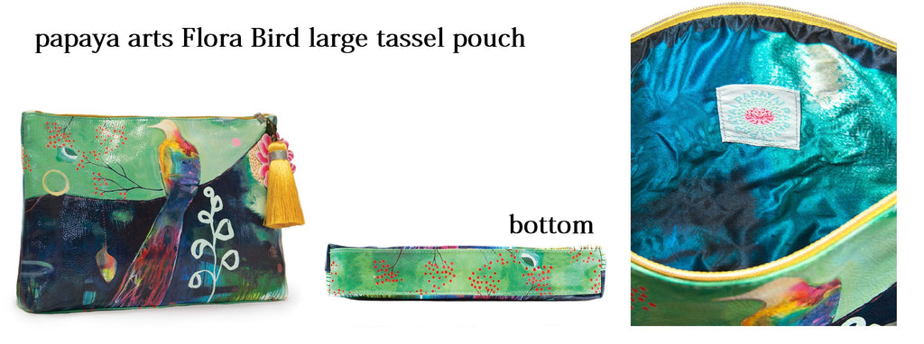 papaya arts flora bird beautiful watercolor washed art bird colorful large tassel pouch make up travel bag ipad school work commute chick sticks sale