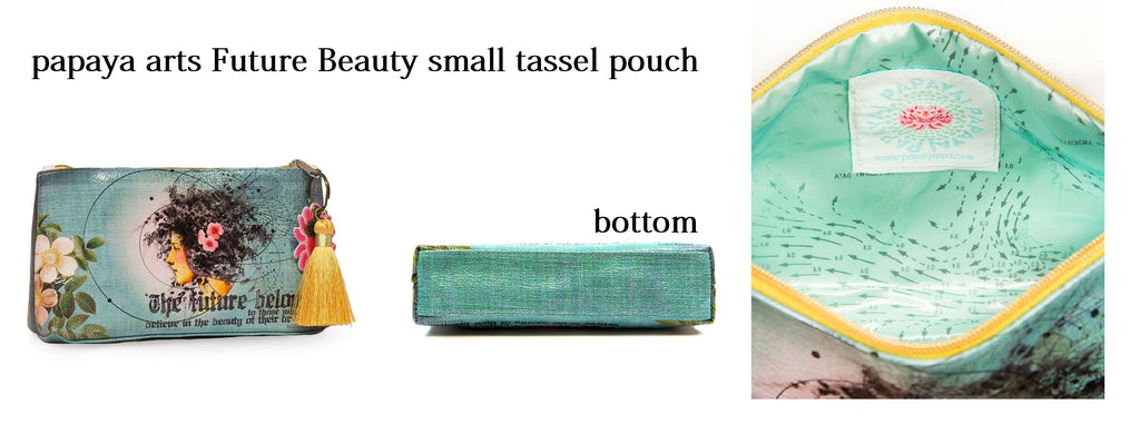 papaya arts future beauty small tassle pouch make up bag turquoise vintage island girl believe inspirational quote bag chick sticks sale