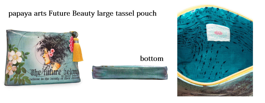papaya arts future beauty tassle pouch make up bag turquoise vintage tropical hawaii island girl believe inspirational the future belongs to you quote bag chick sticks sale