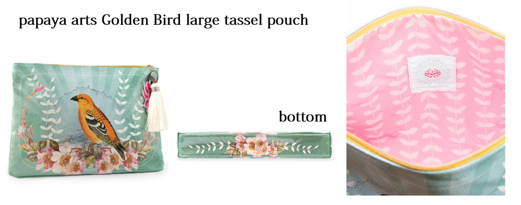 papaya arts golden oriole bird wild life large tassel pouch classic travel make up bag chick sticks sale