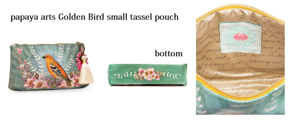 papaya arts golden oriole bird wild life small tassel pouch classic travel make up bag chick sticks sale