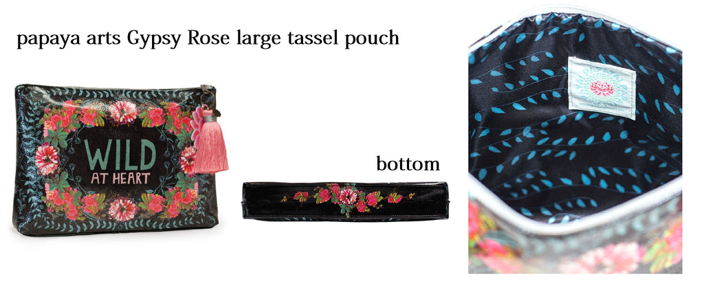 papaya arts gypsy rose wild at heart black pink mint cute floral make up bag travel largel tassel pouch unique gift chick sticks sale